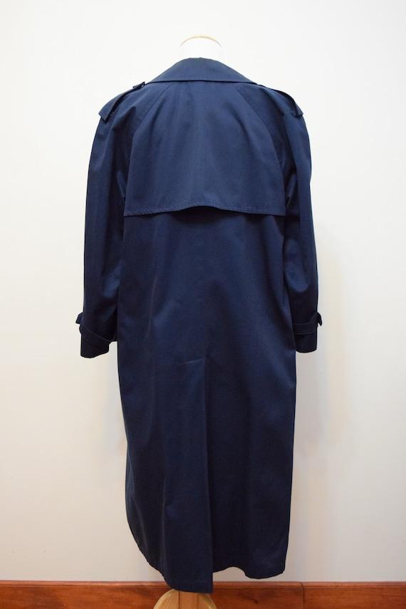 Navy Blue London Fog Trench Coat | 6 Petite - image 4