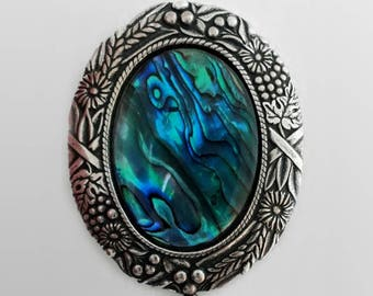 3e510a44756 Novelty BROOCH in blue ABALONE and silver plated setting (leaves), heroic  fantasy style, fairy, elfic jewel, paua shell, glass bead and pear