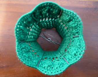 Forest Pine or Bottle Green Chunky but Pettite Over Bulb Crochet Lamp Shade