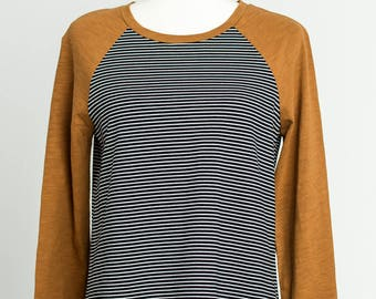 039d97c3 LIQUIDATION SALE. womens top. trendy top, relax fit, full sleeves, cotton,  AZRA tee brown / stripe