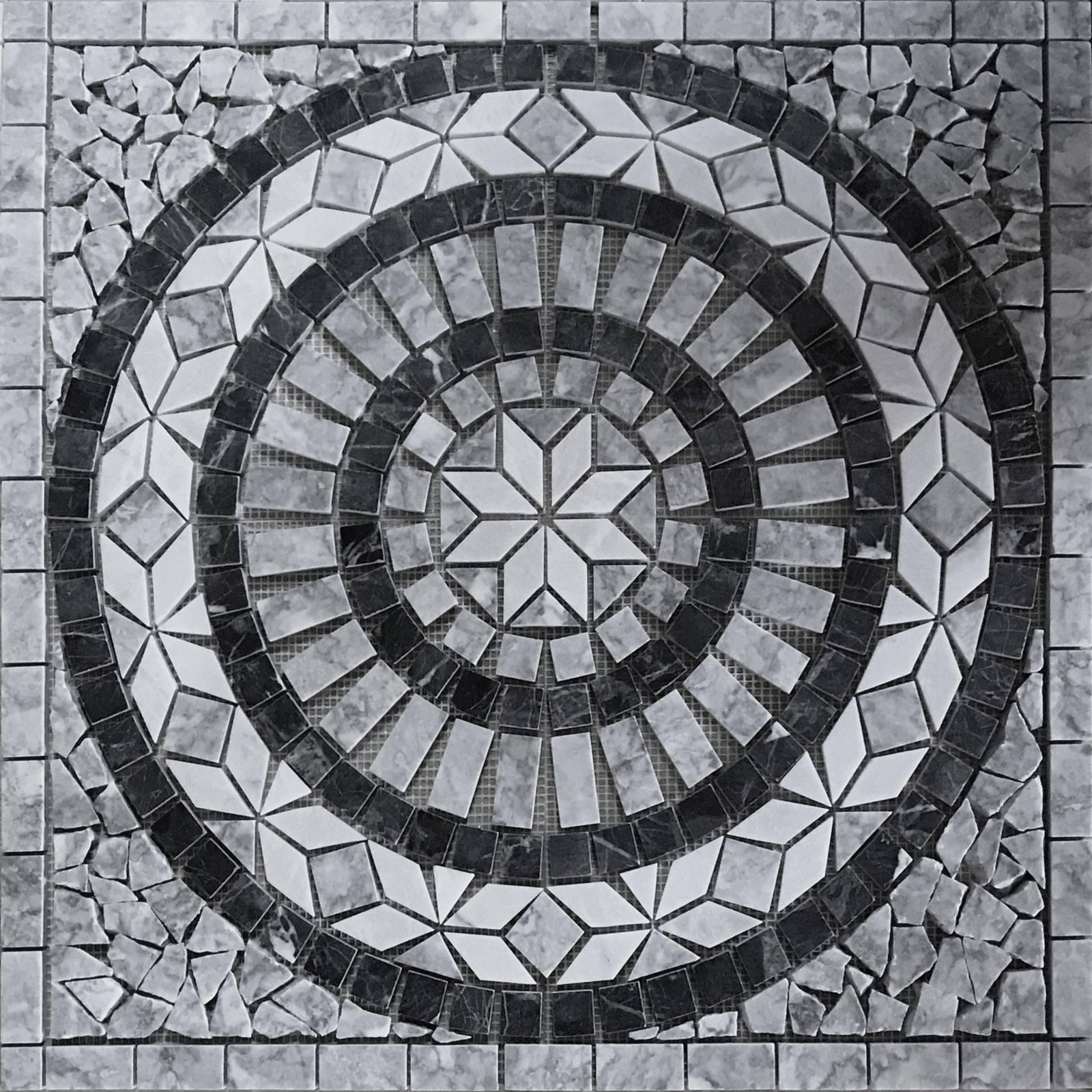 24x24 Home Addition: White And Gray 24x24 Medallion Backsplash Tile Mosaic