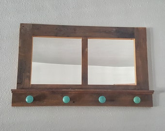 Reclaimed Wood Entryway Mirror With Hooks