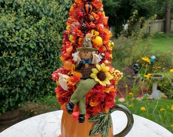 On sale! Pumpkin mug planter holding fall kitsch Bottle Brush tree, ceramic pumpkin mug and cute Scarecrow, ShabbyChic fall autumn tree
