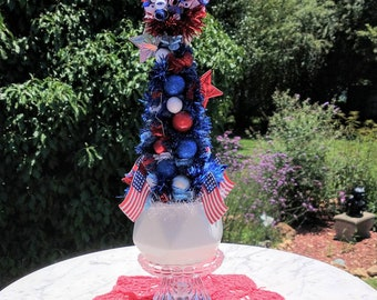 On sale! Patriotic Bottle Brush tree, Red White and Blue handmade decor, 4th of July tree, Military Mom gift, Red white and blue tree kitsch