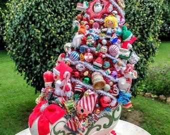 Extra large Holland Mold Ceramic sleigh, Kitschmas bottle tree centerpiece, Retro Christmas Kitsch decor, ceramic Santa sleigh with tree