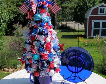 Red white & blue Patriotic Topiary accent piece; Bormioli Rocco cobalt cup and saucer with sisal bottle brush tree; 4th of July tree decor