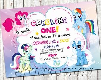 My Little Pony Invitation Rainbow Dash First Birthday Girl Template