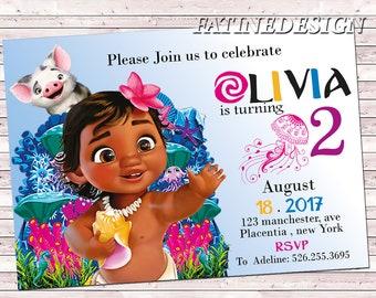Baby Moana Birthday Invitation Editable Invite Template