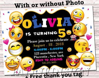 Emoji Birthday Invitation Editable Invitations Instant Download For Girls