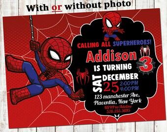 Spider Man Birthday Invitation Spiderman Invitations Party Superhero