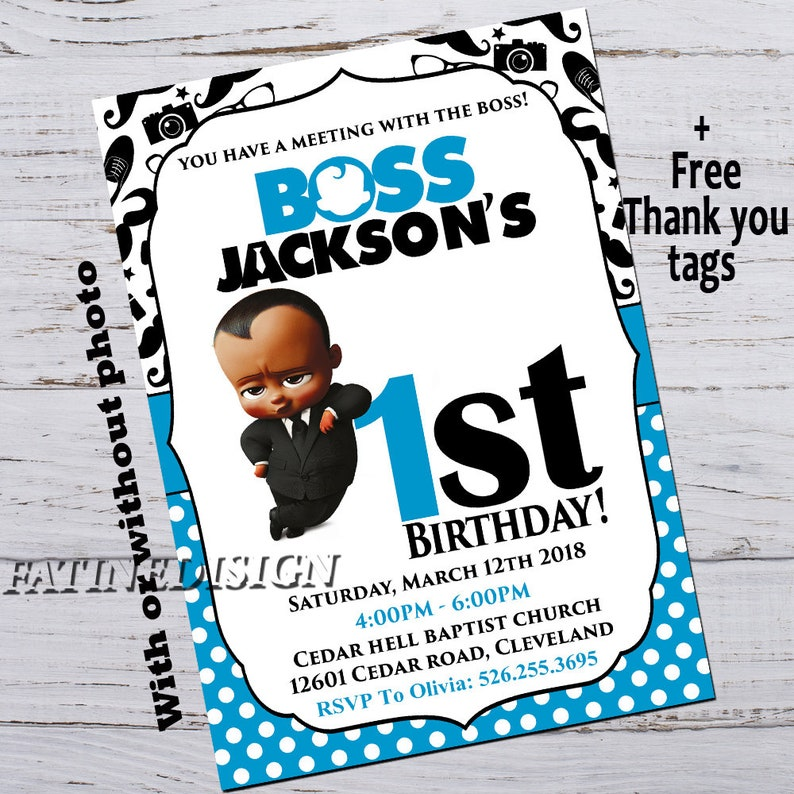African Boss Baby Birthday Invitation