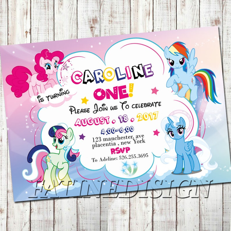 My Little Pony Invitation Rainbow Dash First Birthday