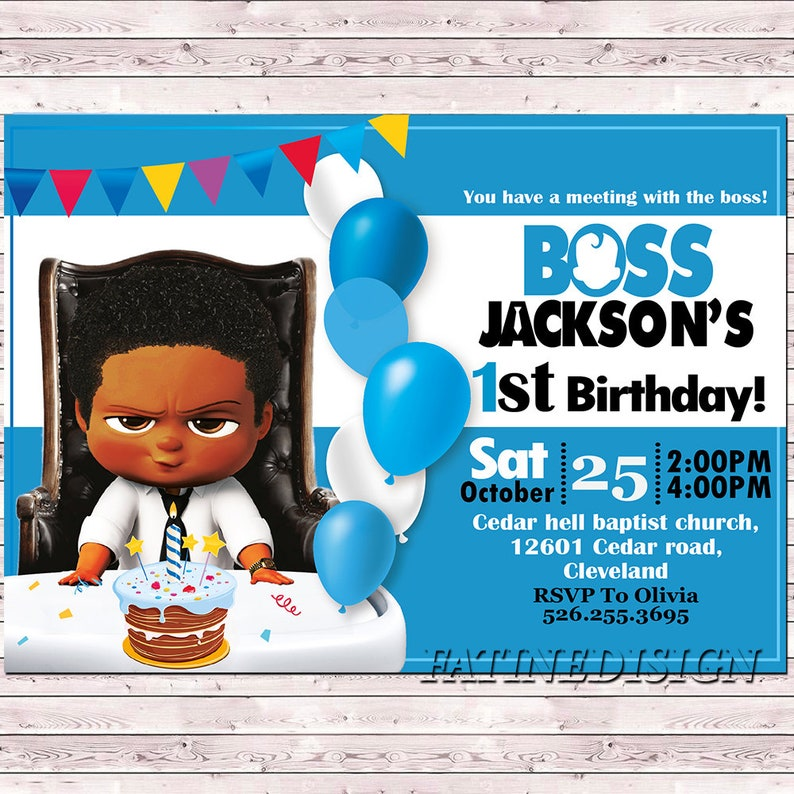 African American Boss Baby Invitation Birthday Party Instant Download