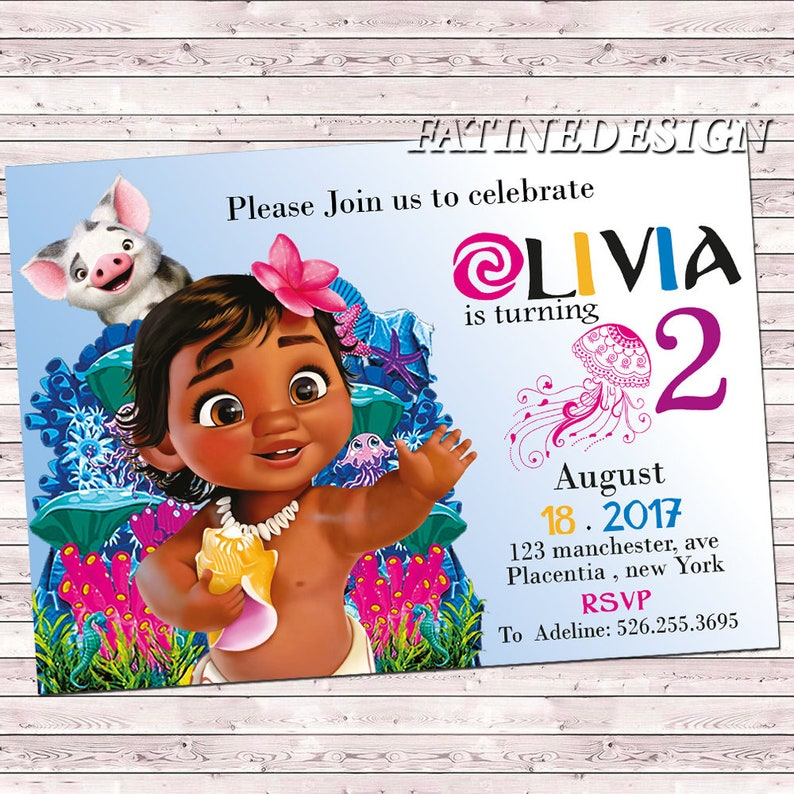 Baby Moana Birthday Invitation