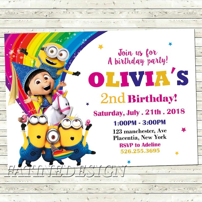 Minion Birthday Invitation Editable Girl