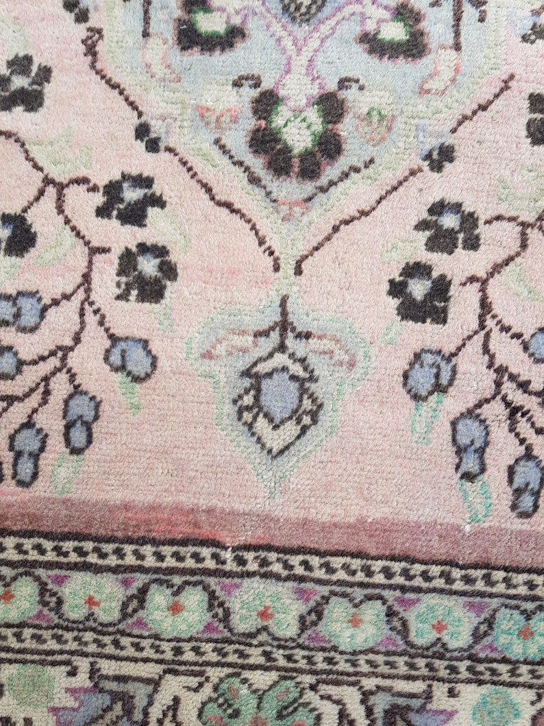 Hand Knotted Rug Turkish Rug Handmade Vintage Rug Oushak Rug 3/' x 6/'  Pink Rug Free Shipping Pale Rug Anatolian Antique Rug