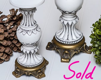 SOLD!!!! White and Gold Candlesticks