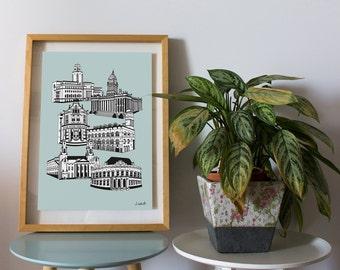 Leeds Landmarks Art Print