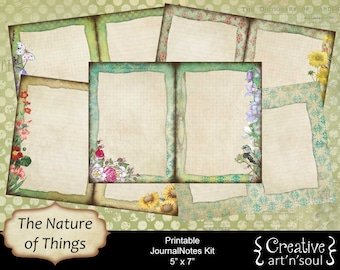Printable Journal Kit, The Nature of Things, 5x7,  Digital Journal Kit, Writing Journal, Writing Pages