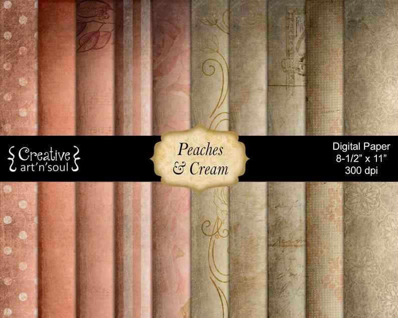 Printable Paper Pack Digital Paper Digital Collage Peaches image 0