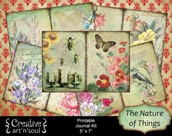Printable Journal Kit, 5x7, Nature Journal, Digital Journal Kit, Junk Journal, The Nature of Things