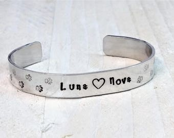 Personalised Pet Names, Aluminium Cuff, Pet Names, Gift For Her, Gift for Him, Pet Lovers, Dog Names, Crazy Cat Lady, Paw Prints,