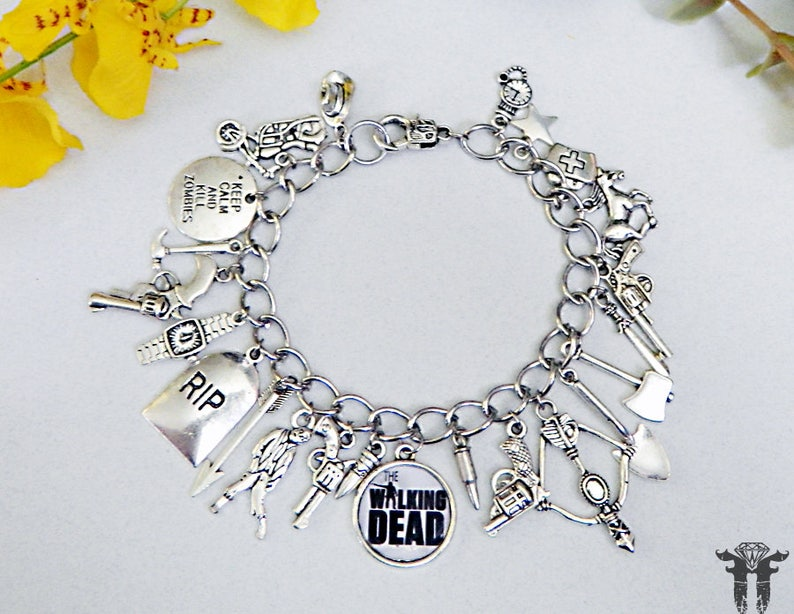 The Walking Dead Inspired Photo Charm Bracelet Zombie Apocalypse TV Series  23 Charms!