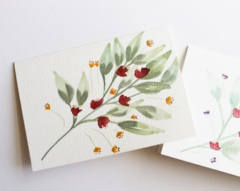 "Floral Watercolor Note Cards-Pack of 2 | 3 1/2"" x 5"""
