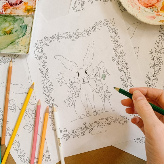 Woodland Coloring Pages Printable Coloring Page Coloring For Etsy