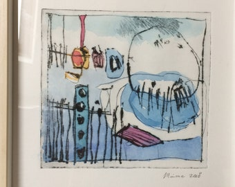 Dry point etching, handpulled print, watercolor, Lost world - 3