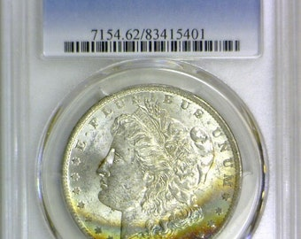 1884-O Morgan Dollar PCGS MS-62; Rainbow Obverse