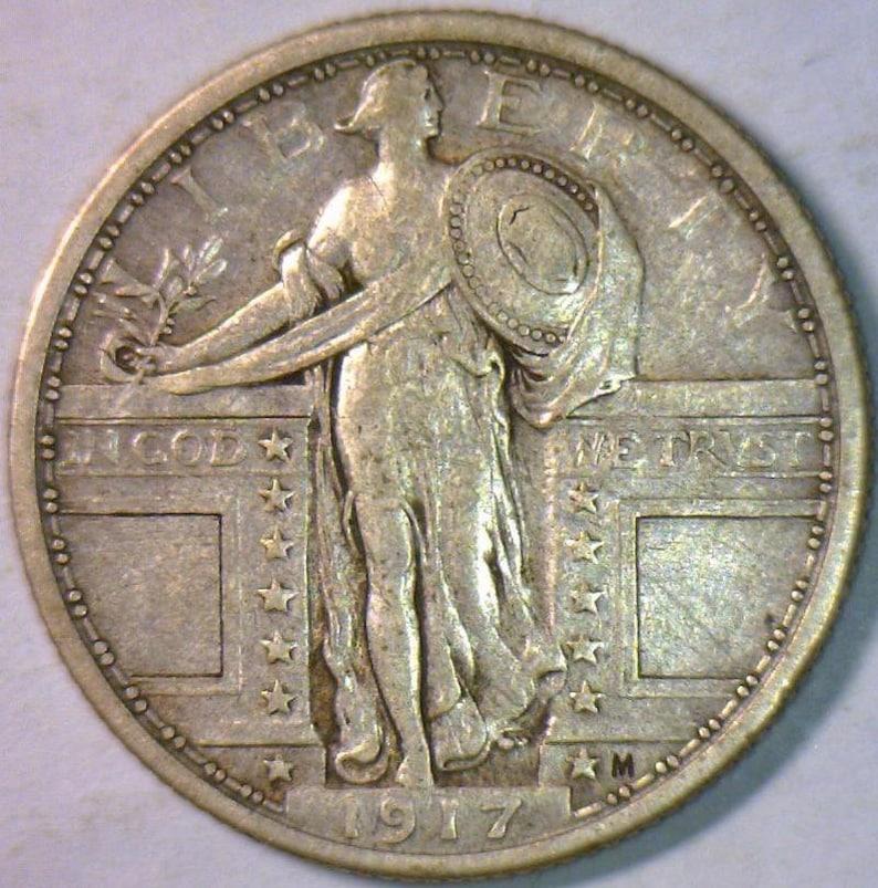 1917 Type 1 Standing Liberty Quarter; Choice Original XF