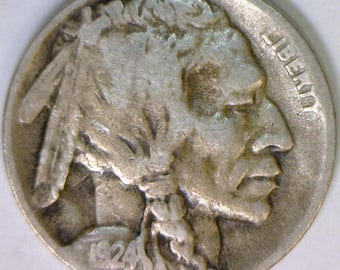 1924-D Buffalo Nickel; Choice Original F+