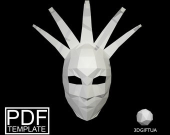 Jester Mask Venetian Printable DIY Halloween Paper Face Polygon