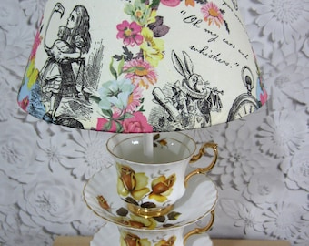 Upcycled English vintage china table lamp - yellow English rose pattern - Alice in Wonderland decoupaged shade - collect in person only