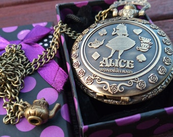 Alice in Wonderland antique style full size pocket watch on necklace with charm - FREE  gift box