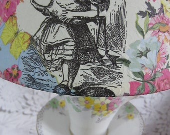 1940's vintage English bone china tea cup artisan upcycled tablelamp - Alice in Wonderland decoupaged or plain shade included (collect only)
