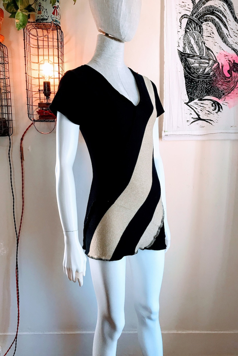 Recycled V-neck Sweater Dress : black gold stripe image 0