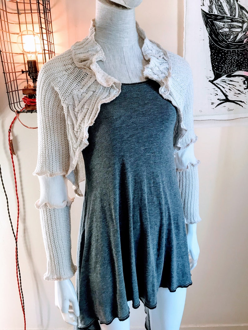 Handmade Recycled Sweater Shrug : Cream Gold image 0
