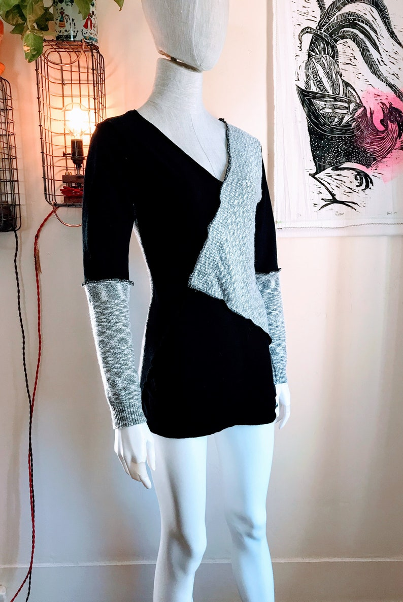 Recycled V-neck Sweater Dress : black white variegated image 0