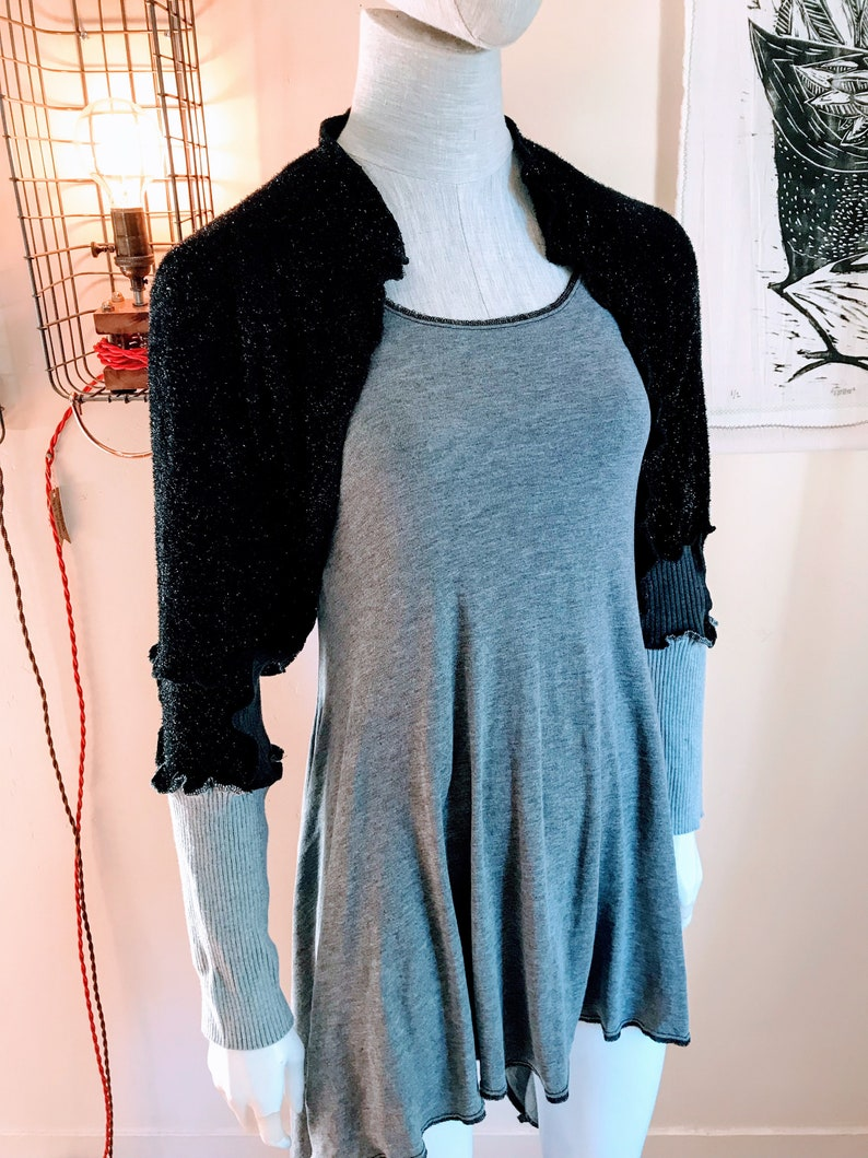 Handmade Recycled Sweater Shrug : Black Sparkle grey sleeve image 0