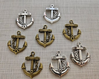 2 Boat Anchor Charms 31mm Wholesale Antiqued Bronze Turquoise Patina Pendants BC0059202