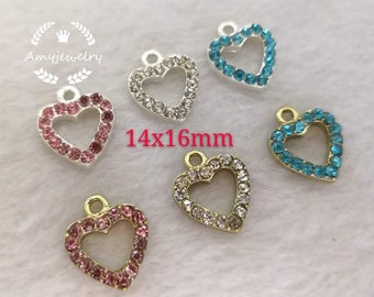SILVER /&RHINESTONE HEART CLIP ON CHARM IN 5 COLOURS-NEW