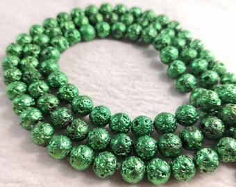 ceeab592df9b 8mm dunkel grün Lava Rock Rundperlen, Galvanik Lavagestein, Lavagestein  Schmuckperlen, Lava Perlen Großhandel