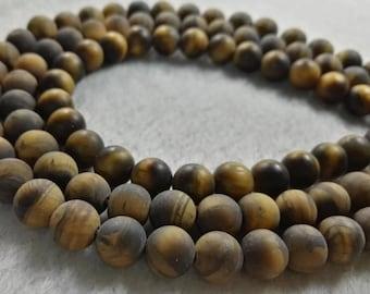 1 Full Strand 6mm 8mm 10mm Matte Tiger Eye Beads , Round Gemstone Beads , Bracelet Beads  , Findings , Wholesale Beads