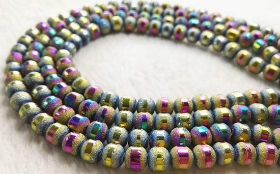 6x4mm 100pcs vert multicolore perles de cristal  en vrac