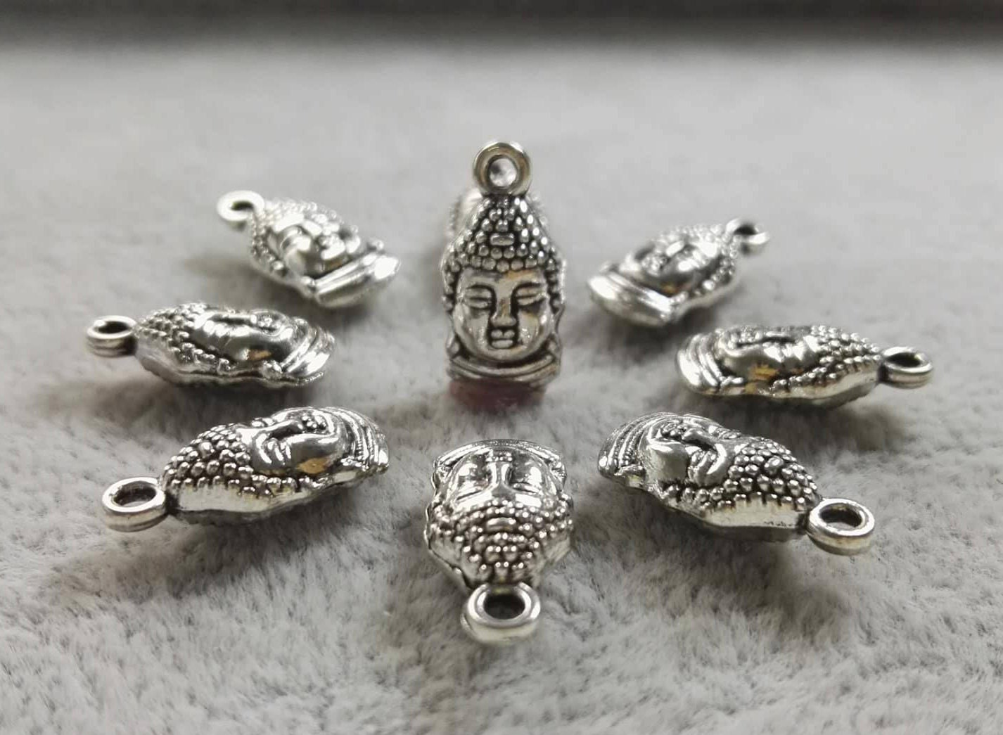 UK Seller Budha Charms x 5 Antique Silver Tone