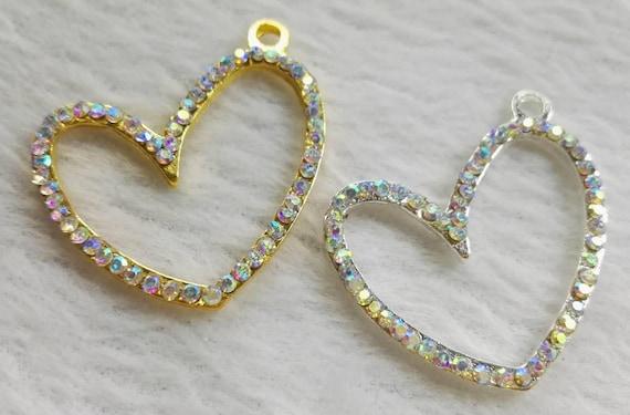 10pcs Alloy Rhinestone Heart Pendants Mini Dangle Charms DIY Jewelry 26x26.5mm
