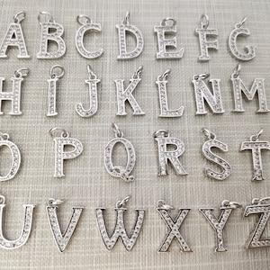 Z Alphabet letters Bulk Lot Options A 8 x 15mm,BA-239 Platinum Plated Initials Charm Micro Pave CZ Letter Charms CZ Pave letter Charm