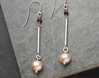 Modern Pearl & Garnet Earrings, Modern Pearl Earrings, Modern Garnet Earrings, Minimalist Earrings, Industrial Earrings, Sterling silver